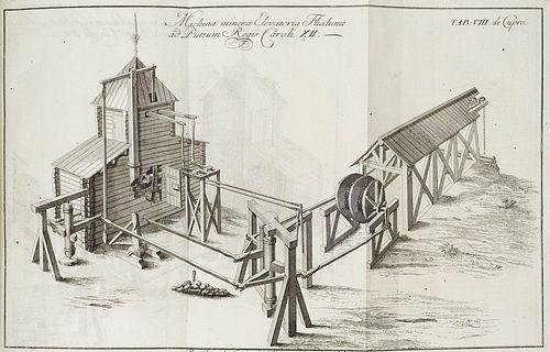Swedenborg, Emanuel Opera philosophica et mineralia. 3 Bde. Mit 122 (teils gef.) Kupfertafeln, 2 gef. Karten, 3 wdh. Titelvignetten, Initialen, Kopf-