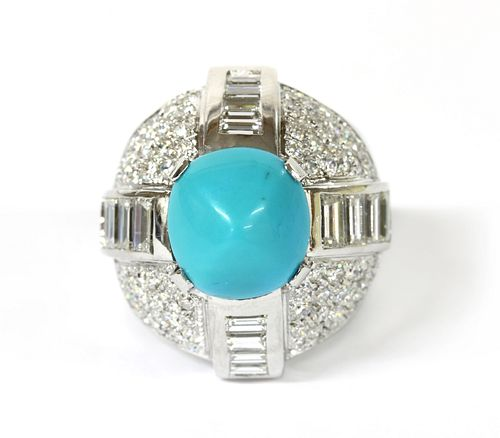 A white gold turquoise and diamond bomb? ring,