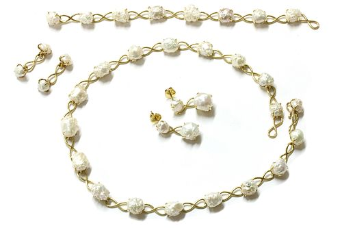 A gold freshwater pearl suite, by Tiffany & Co.,