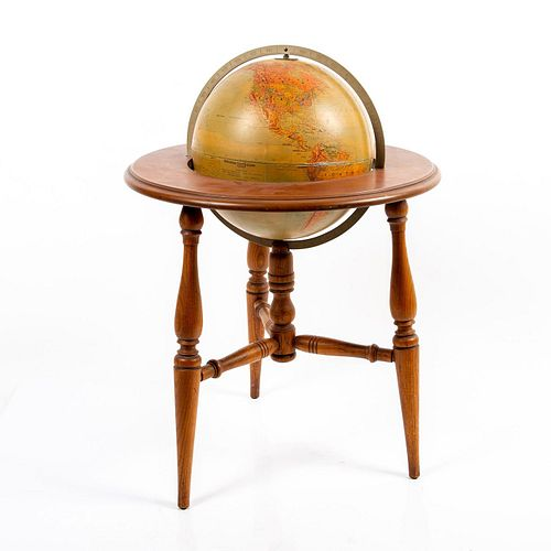 Vintage Replogle Stereo Relief World Globe In Wood Stand
