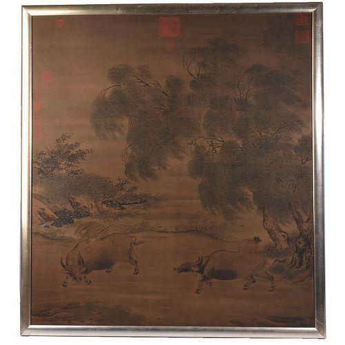 Framed, Print on Fabric, Lao Tzu Ming Dynasty Style