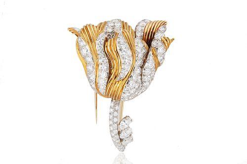 TIFFANY & CO. GOLD AND DIAMOND TULIP BROOCH