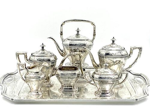 Reed and Barton Sterling Tea Service with Sterling