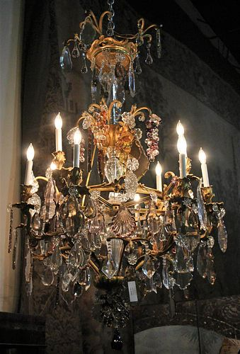 LARGE ANTIQUE  FRENCH BRONZE CRYSTAL CHANDELIER