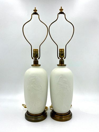 Pair of Classical Subject Bisque Porcelain Lamps