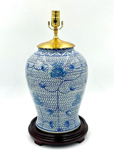 Asian Blue and White Vase Fitted as Table lamp
