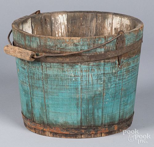 Blue painted bucket, 19th c.