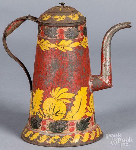 Pennsylvania red toleware coffee pot, 19th c.