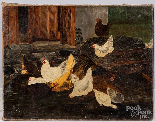 Oil on canvas barn scene with chickens