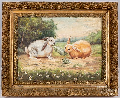 Oil on board of two rabbits, ca. 1900