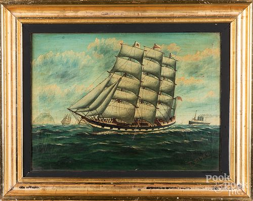 Oil on canvas ship portrait