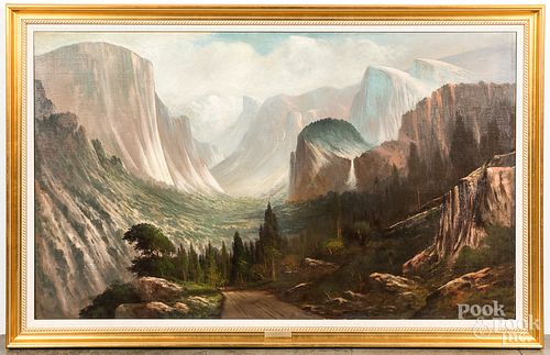 Oil on canvas view of Yosemite, early 20th c.