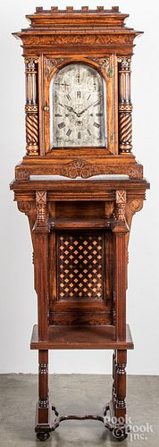 Philadelphia oak chiming clock and stand