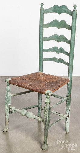 Painted ladderback side chair, 18th c.