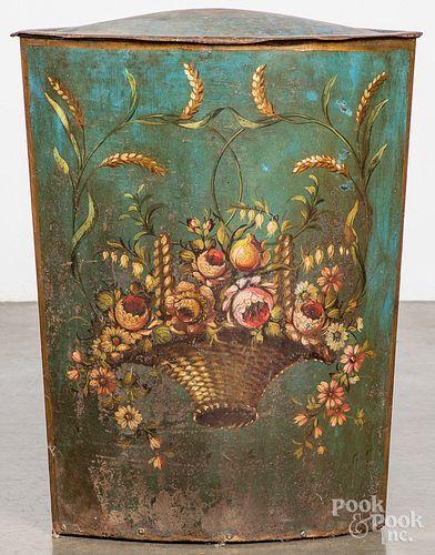 Painted tin kindling bin, late 19th c.