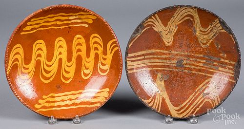 Two redware plates, 19th c.
