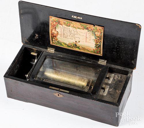 Swiss cylinder music box, late 19th c.
