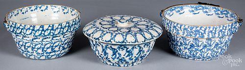 Three blue spongeware bowls