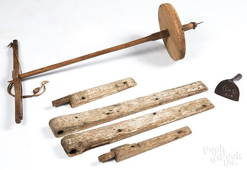 Primitive wooden pump drill, 19th c., etc.