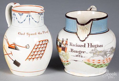 Pearlware coaching jug and another pearlware jug