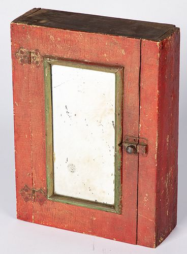 Small painted pine hanging cupboard, late 19th c.
