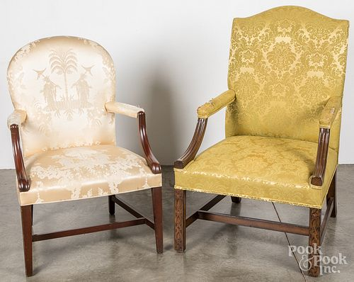 Two Georgian style upholstered armchairs