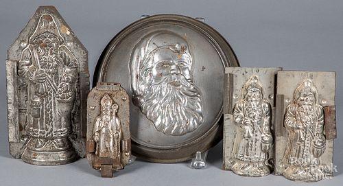 Five Santa Claus tin chocolate molds