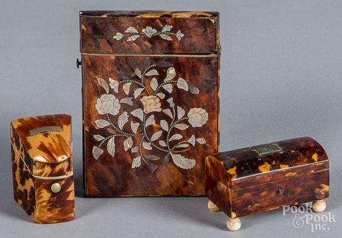 Three shell boxes, 19th c.