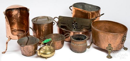 Group of brass and copper cookware