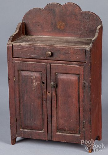 Stained pine doll's jelly cupboard, 19th c.