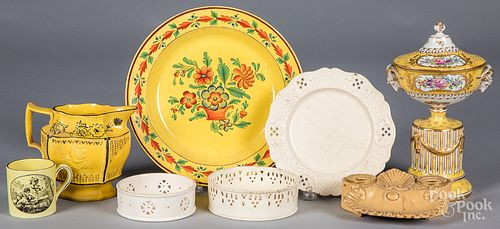 Group of canary yellow porcelain, 19th and 20th c.