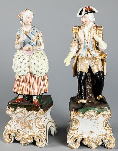 Pair of large Continental porcelain figures