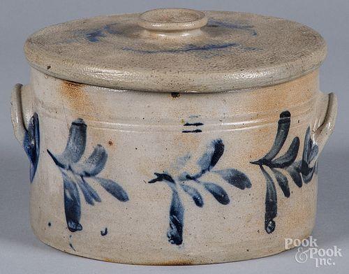 Pennsylvania stoneware cake crock and lid, 19th c.