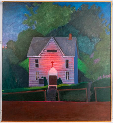 Oil on canvas of a church, initialed JCW