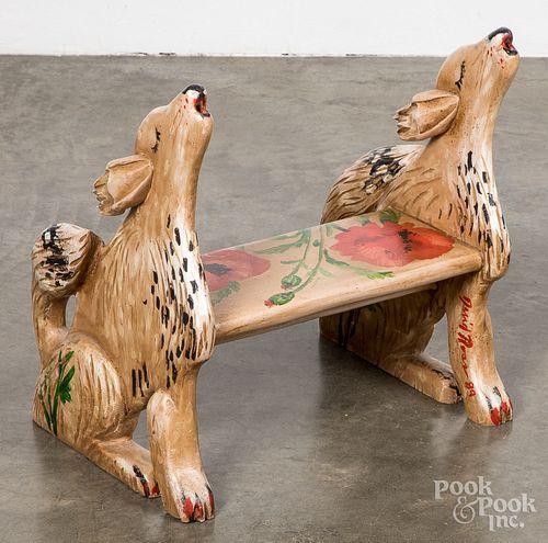 David Ross painted howling wolf stepstool