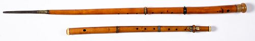 Walking stick flute, together with another