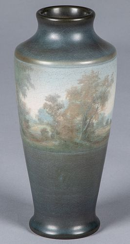 Rookwood art pottery scenic vellum vase