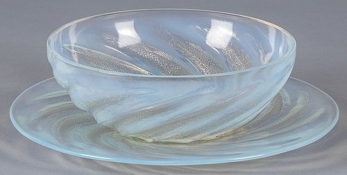 Lalique Poissons bowl and undertray