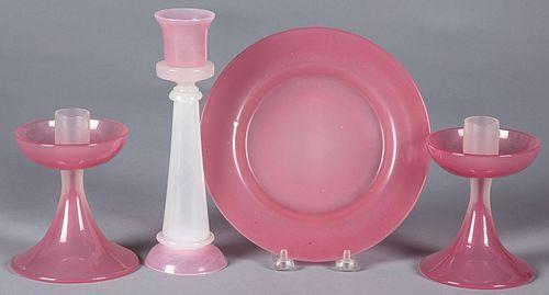 Group of Steuben rosaline glass