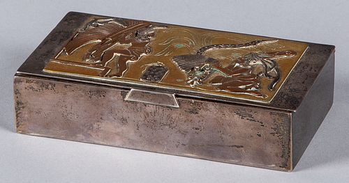 Mexican sterling silver and mixed metal cigar box