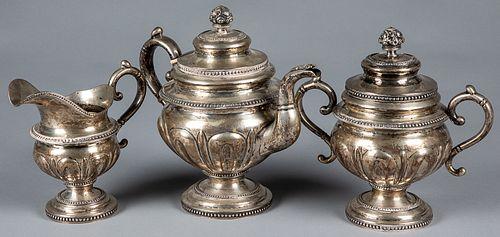 B. Gardiner, New York coin silver tea service