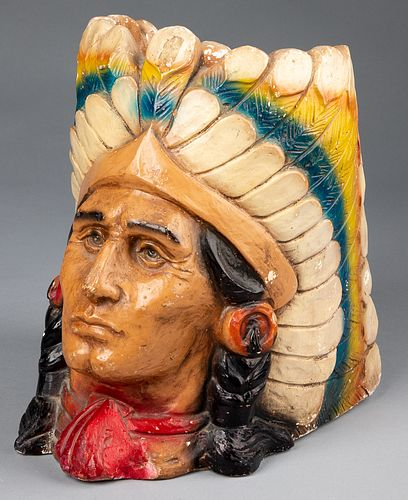Plaster bust of a Native American Indian planter