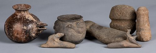 South American native pottery and stone artifacts