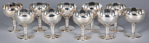 "Set of ten sterling silver sherbets, 3 1/2"" h."