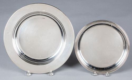 """Two sterling silver trays, 10"""" dia. and 13"""" dia.,"""