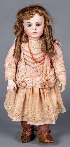 Unmarked French Bru bisque head doll