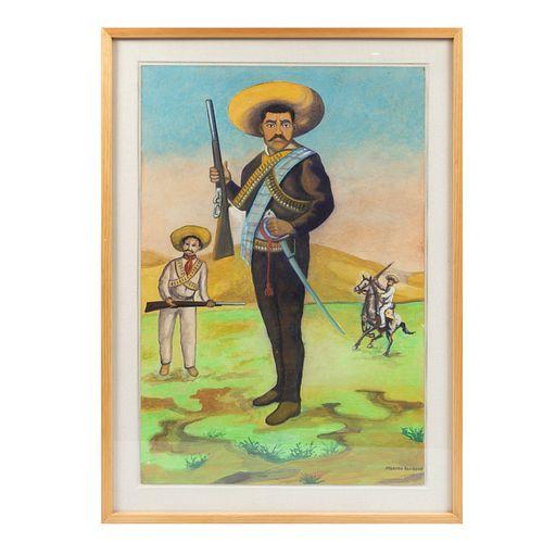 MÁXIMO PACHECO. Emiliano Zapata. Firmada. Gouache sobre cartón. 75 x 51 cm. Detalles de conservción en marco. Enmarcada.