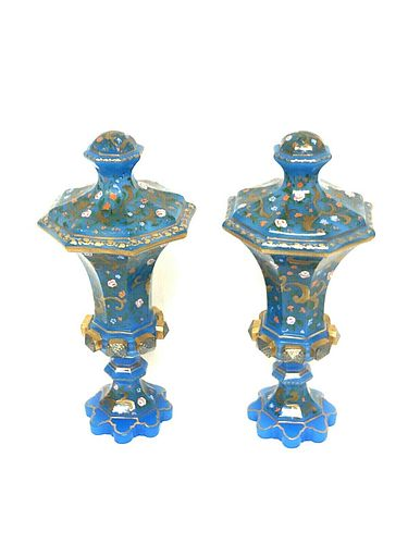 A PAIR OF BOHEMIAN ENAMELLED OPALINE GLASS VASES c.19th century AD.