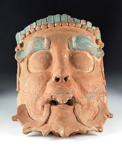 Huge Maya Terracotta Mask - Deity, Blue Pigment - TL'd