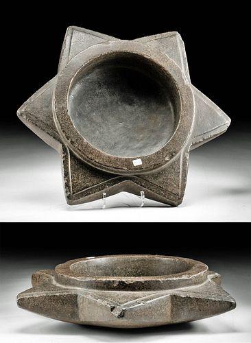 Massive Inca Stone Star-Shaped Mortar